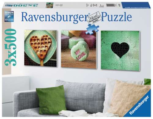 Impressions of Love (3 x 500pc) (RB19921-1), a 500 piece jigsaw puzzle by Ravensburger. Click to view larger image.