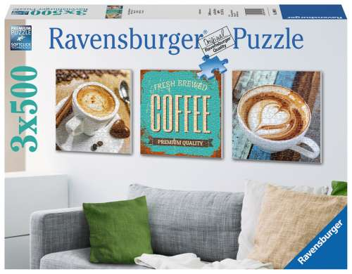 Coffee Time (3 x 500pc) (RB19919-8), a 500 piece jigsaw puzzle by Ravensburger. Click to view larger image.