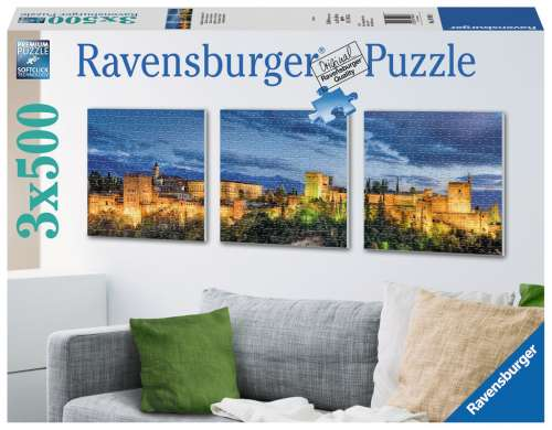 Alhambra at Twilight (3 x 500pc) (RB19918-1), a 500 piece jigsaw puzzle by Ravensburger. Click to view larger image.