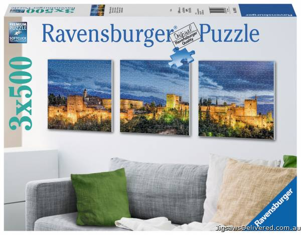 Alhambra at Twilight (3 x 500pc) (RB19918-1), a 500 piece jigsaw puzzle by Ravensburger.