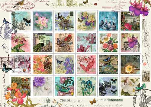 Floral Stamp Collection (RB19607-4), a 1000 piece jigsaw puzzle by Ravensburger. Click to view larger image.