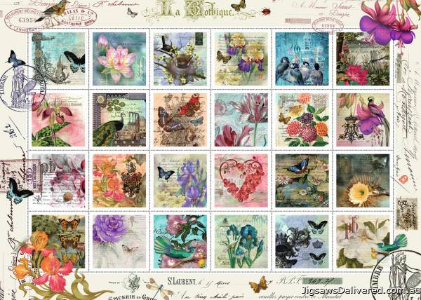 Floral Stamp Collection (RB19607-4), a 1000 piece jigsaw puzzle by Ravensburger.
