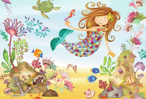 Junior Mermaid (Giant Floor Puzzle) (RB05396-4), a 24 piece jigsaw puzzle by Ravensburger. Click to view larger image.
