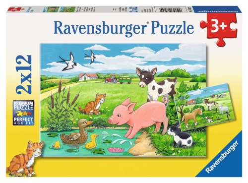 Baby Farm Animals (2 x 12pc) (RB07582-9), a 12 piece jigsaw puzzle by Ravensburger. Click to view larger image.