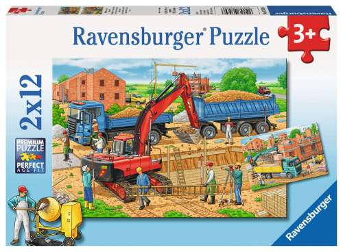 Busy Construction Site (2 x 12pc) (RB07589-8), a 12 piece jigsaw puzzle by Ravensburger. Click to view larger image.