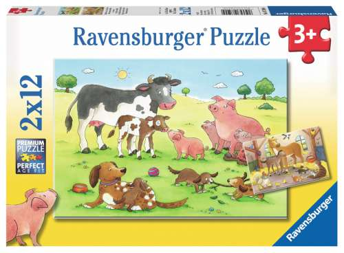 Baby Animals (2 x 12pc) (RB07590-4), a 12 piece jigsaw puzzle by Ravensburger. Click to view larger image.