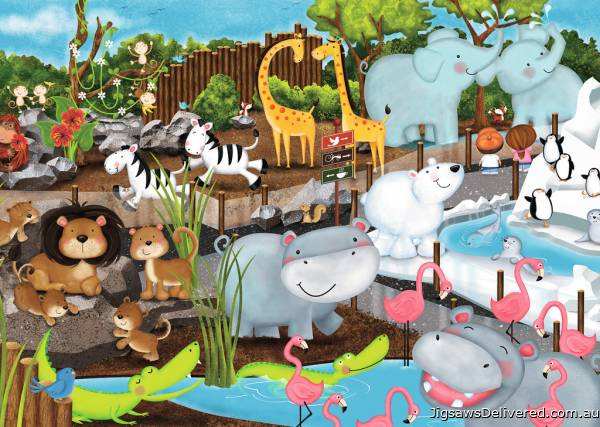 Day at the Zoo (RB08778-5), a 35 piece jigsaw puzzle by Ravensburger.