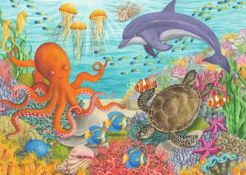 Ocean Friends (RB08780-8), a 35 piece jigsaw puzzle by Ravensburger. Click to view larger image.