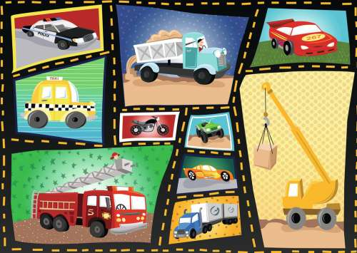 Cars and Trucks (RB08781-5), a 35 piece jigsaw puzzle by Ravensburger. Click to view larger image.