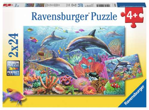 Underwater World (2 x 24pc) (RB09017-4), a 24 piece jigsaw puzzle by Ravensburger. Click to view larger image.