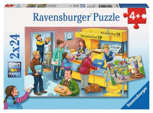 The Busy Post Office (2 x 24pc) (RB09023-5), a 24 piece jigsaw puzzle by Ravensburger. Click to view larger image.