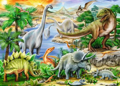 Prehistoric Life (RB09621-3), a 60 piece jigsaw puzzle by Ravensburger. Click to view larger image.
