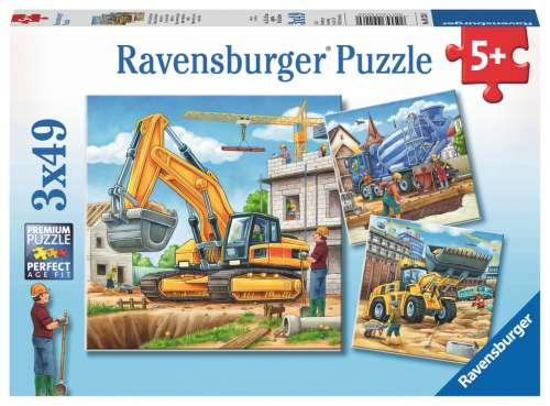 Construction Vehicles (3 x 49pc) (RB09226-0), a 49 piece jigsaw puzzle by Ravensburger. Click to view larger image.