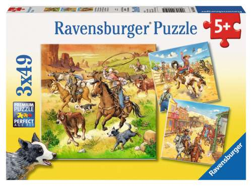 The Wild West (3 x 49pc) (RB09250-5), a 49 piece jigsaw puzzle by Ravensburger. Click to view larger image.