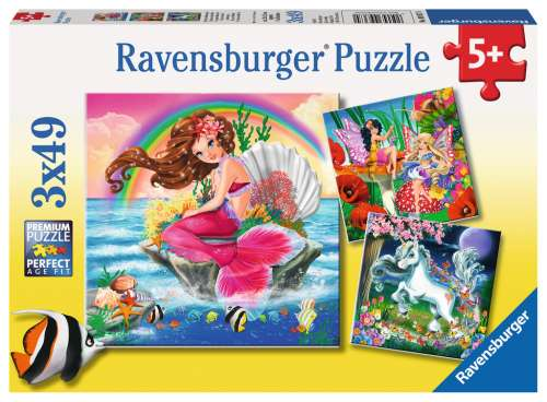 Mythical Creatures (3 x 49pc) (RB09367-0), a 49 piece jigsaw puzzle by Ravensburger. Click to view larger image.