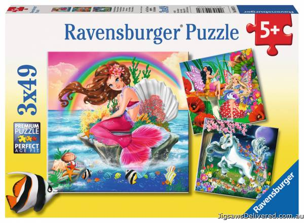 Mythical Creatures (3 x 49pc) (RB09367-0), a 49 piece jigsaw puzzle by Ravensburger.