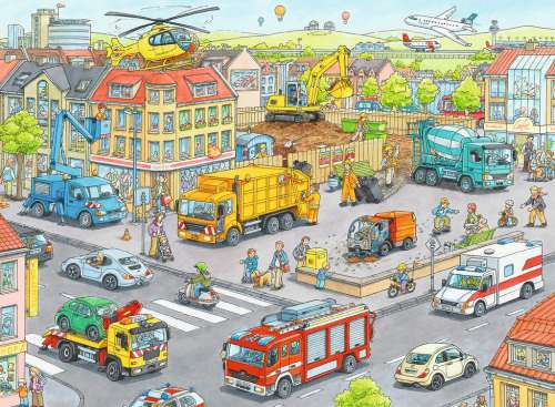 Vehicles in the City (RB10558-8), a 100 piece jigsaw puzzle by Ravensburger. Click to view larger image.