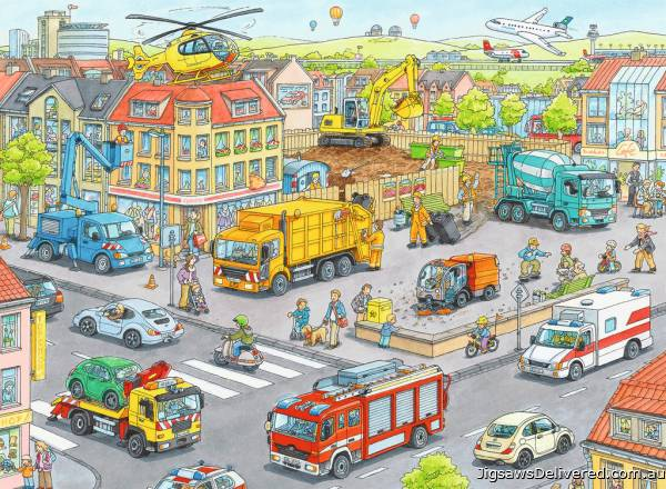 Vehicles in the City (RB10558-8), a 100 piece jigsaw puzzle by Ravensburger.