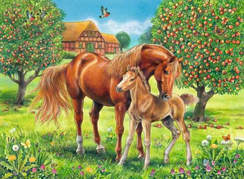 Horses in the Field (RB10577-9), a 100 piece jigsaw puzzle by Ravensburger. Click to view larger image.