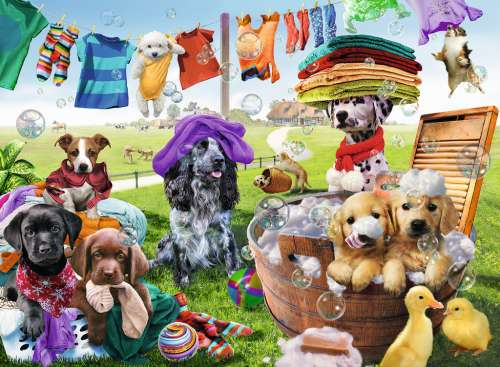 Washing Day (RB10596-0), a 100 piece jigsaw puzzle by Ravensburger. Click to view larger image.