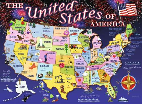 USA Map (RB10661-5), a 100 piece jigsaw puzzle by Ravensburger. Click to view larger image.