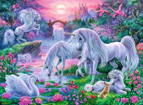 Unicorns at Sunset (RB10021-7), a 150 piece jigsaw puzzle by Ravensburger. Click to view larger image.