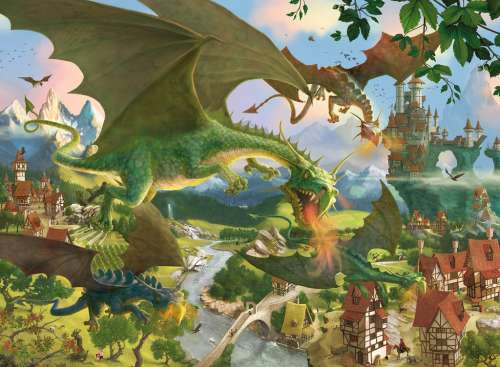 Dragons on Tour (RB10022-4), a 150 piece jigsaw puzzle by Ravensburger. Click to view larger image.