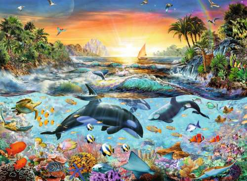 Orca Paradise (RB12804-4), a 200 piece jigsaw puzzle by Ravensburger. Click to view larger image.