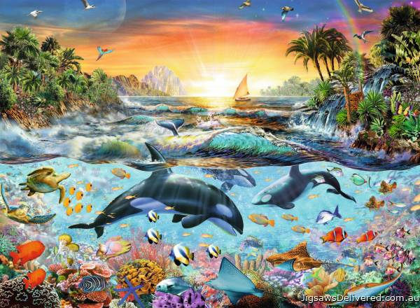 Orca Paradise (RB12804-4), a 200 piece jigsaw puzzle by Ravensburger.