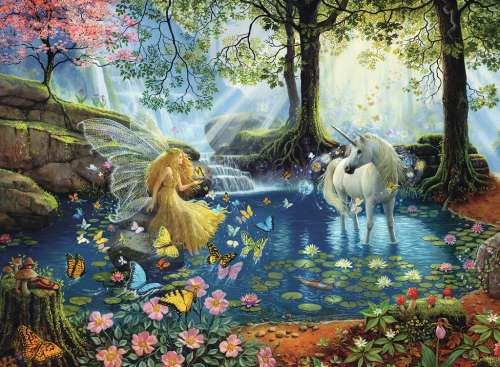 Mystical Meeting (RB13206-5), a 300 piece jigsaw puzzle by Ravensburger. Click to view larger image.