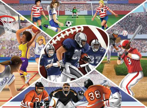 Sports Collage (RB13208-9), a 300 piece jigsaw puzzle by Ravensburger. Click to view larger image.
