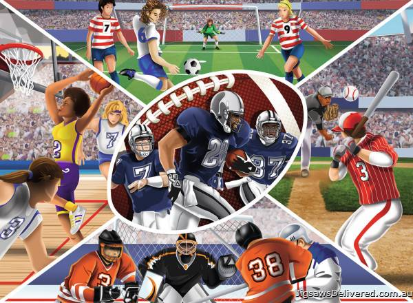 Sports Collage (RB13208-9), a 300 piece jigsaw puzzle by Ravensburger.