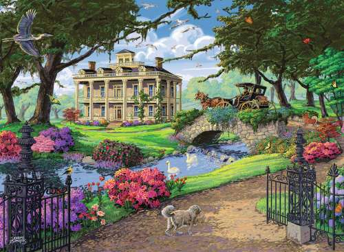 Visiting the Mansion (RB14690-1), a 500 piece jigsaw puzzle by Ravensburger. Click to view larger image.