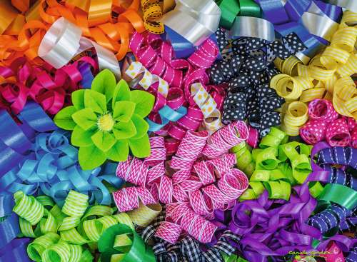Colorful Ribbons (RB14691-8), a 500 piece jigsaw puzzle by Ravensburger. Click to view larger image.