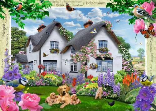 Delphinium Cottage (RB19496-4), a 1000 piece jigsaw puzzle by Ravensburger. Click to view larger image.