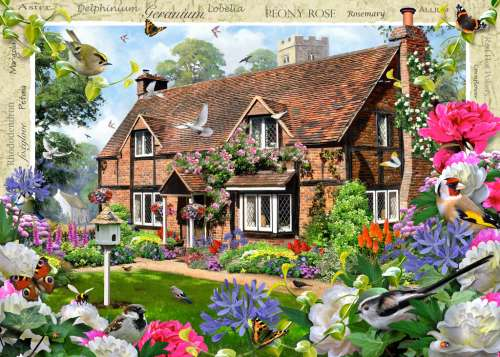Peony Cottage (RB19413-1), a 1000 piece jigsaw puzzle by Ravensburger. Click to view larger image.