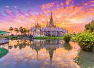 Wat Thai Temple Sunset (RB14649-9), a 500 piece Ravensburger jigsaw puzzle.