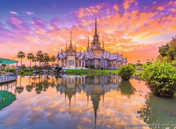 Wat Thai Temple Sunset (RB14649-9), a 500 piece jigsaw puzzle by Ravensburger.