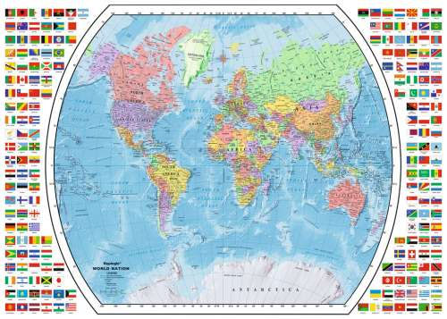 Political World Map (RB19633-3), a 1000 piece jigsaw puzzle by Ravensburger. Click to view larger image.