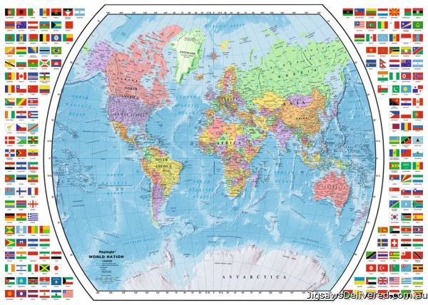 Political World Map (RB19633-3), a 1000 piece jigsaw puzzle by Ravensburger.