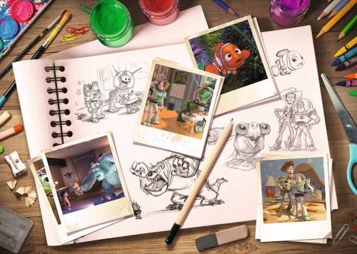 Disney Pixar Sketches (RB19603-6), a 1000 piece jigsaw puzzle by Ravensburger. Click to view larger image.