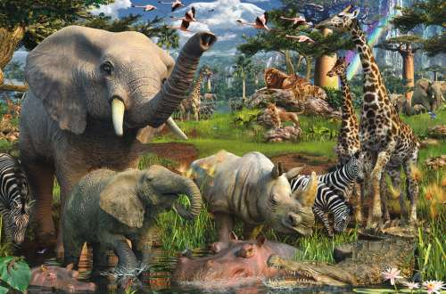 African WildLife (RB17070-8), a 3000 piece jigsaw puzzle by Ravensburger. Click to view larger image.