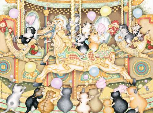 Crazy Cats Carousel (RB14696-3), a 500 piece jigsaw puzzle by Ravensburger. Click to view larger image.