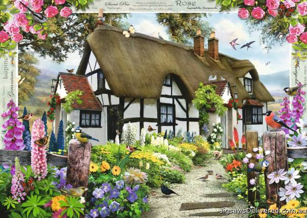 Rose Cottage (RB15585-9), a 1000 piece jigsaw puzzle by Ravensburger.
