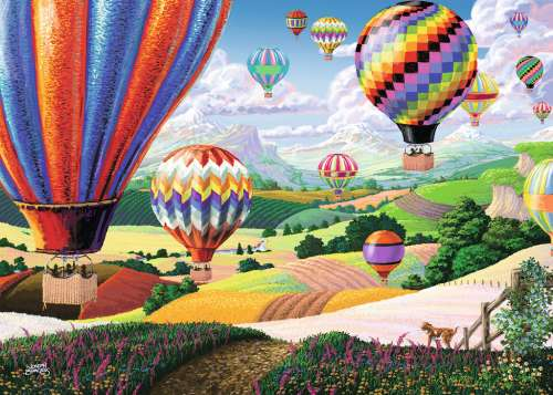 Brilliant Balloons (Large Pieces) (RB14871-4), a 500 piece jigsaw puzzle by Ravensburger. Click to view larger image.