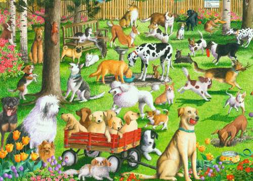 The Dog Park (Large Pieces) (RB14870-7), a 500 piece jigsaw puzzle by Ravensburger. Click to view larger image.