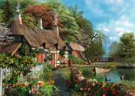Cottage on the Lake (Large Pieces) (RB13580-6), a 300 piece Ravensburger jigsaw puzzle.