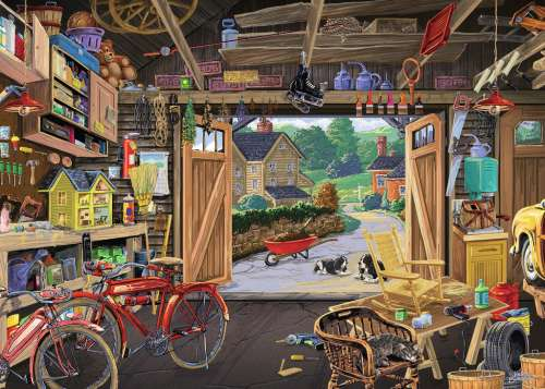 Grandpa's Garage (Large Pieces) (RB13578-3), a 300 piece jigsaw puzzle by Ravensburger. Click to view larger image.