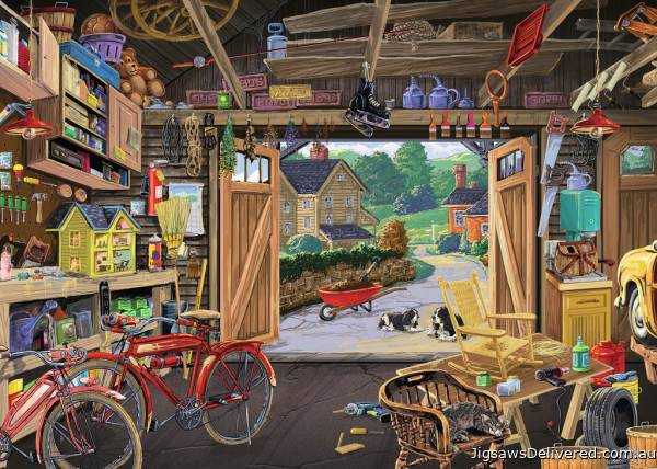 Grandpa's Garage (Large Pieces) (RB13578-3), a 300 piece jigsaw puzzle by Ravensburger.