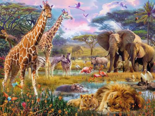 Africa (RB16333-5), a 1500 piece jigsaw puzzle by Ravensburger. Click to view larger image.
